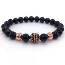 8MM High Quality Onyx Beads10MM Rose Gold CZ Ball Men's Charm Fashion Bracelets