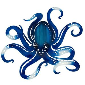 "Beautiful Laser Cut Blue Octopus Metal Wall Decor 26""H  X  20""W 2615"