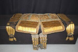 (BA-10) Beautiful Gold Metal SANGU (KOTE,HAIDATE,SUNEATE) set for Adult  Edo