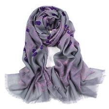 100% Pura Lana Donna Sciarpa Pashmina Soft Wrap grigio con stampa cigni Viola