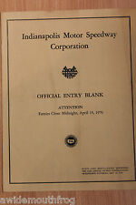 Indianapolis 500 Mile Race Official Entry Forms (Original) 1970 Race Meeting