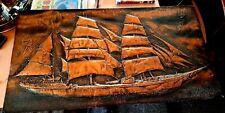 "HUGE Vintage Embossed Rectangular Copper Plaque - Sailing Ship 31""x17"" VGC"