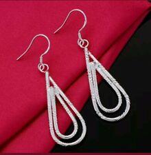 Drop Dangle Fashion Hook Earrings Womens 925 Sterling Silver Teardrop