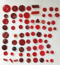 73 Vintage Celluloid and Plastic Red Buttons Sewing Notions