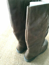SIMPLY BE BROWN 100% GENUINE LEATHER CALF LADIES BOOTS E WIDE FIT