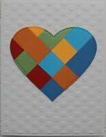 Bright Colorful Patchwork Heart Handmade All Occasion Card