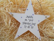 Sparkly Naming Day Gift Hanging Star Keepsake Plaque Personalised