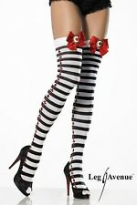 LEG AVENUE STRIPED THIGH HIGH STOCKINGS WITH SATIN BOWS AND CAMEO ONLY £2.99