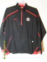 Mens Nike Team Canada Olympic Black Red Windbreaker Pullover Hockey Jacket  LARG