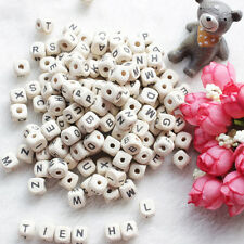 50Pcs Natural Wooden Alphabet Letter Cube Style Beads Craft Kids Creative DIY