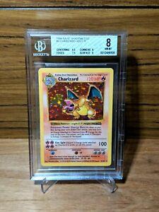 1999 Pokémon Card Base Set SHADOWLESS Charizard Holo 4 / 102 BGS 8 NM - MINT