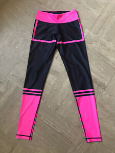Six Deuce - Fluorescent Pink & Black Gym Yoga Pants - Spandex Leggings - Size S