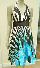 WOMENS BLACK / WHITE MIX SATIN HALTER NECK DRESS- BIANCA BRANDI - 10 -BNWT