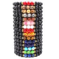 Stylish Men Women Lava Rock Chakra Beads Elastic Natural Stone Agate Bracelet