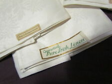 "16"" SQ New Irish linen Double Damask Vintage off White Napkins lot set of 6"