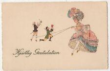 Lady & Male Puppets Fantasy Art Postcard B803