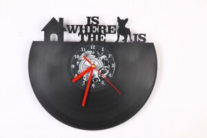 HOME IS WHERE THE DOG IS VINYL Shape Modern Wall Clock Bedroom Home Decor Gift