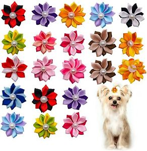 20pcs Dog Hair Bow W/ Rubber Band Puppy Cat Decorate Hair Accessroies Grooming