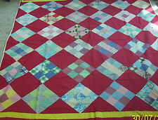 Old Quilt, ? age, 9 patch, hand stitched, 72 X 83, red blocks with 9 patch