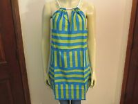 Blue Green Striped Cover-Up by Mud Pie, Rope Neck, Size Medium, NWT