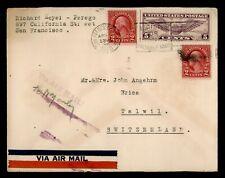 DR WHO 1930 SAN FRANCISCO CA SLOGAN CANCEL AIRMAIL TO SWITZERLAND  f53375