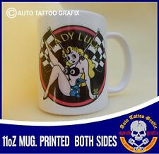 LADY LUCK HOT ROD TEA COFFEE MUG CUP WORKSHOP GARAGE OFFICE MAKES 4 A COOL GIFT