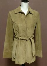 Banana Republic Women's Tan Soft Suede Leather Fully Lined Coat Jacket Size S