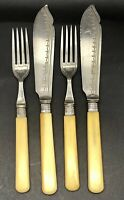 Set of 4 Antique Fish Cutlery, Silver Hallmarked Collars, Sheffield, England.
