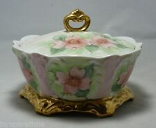VINTAGE HAND PAINTED CERAMIC PINK FLORAL CANDY DISH