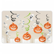 12 Halloween PUMPKINS & GHOSTS Value Pack Spooky Party Hanging Swirl Decorations