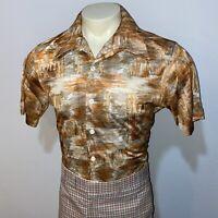 Vtg 60s 70s WICKFIELD Disco Shirt Saturday Night Fever STRETCH NYLON Mens LARGE