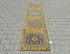 ORANGE Turkish Hallway Runner 2x8ft Vintage Oushak Anatolian Handmade Wool Rug