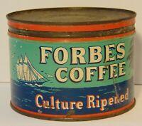Vintage 1940s FORBES COFFEE TIN ONE POUND SHIP OCEAN GRAPHIC St. Louis Missouri
