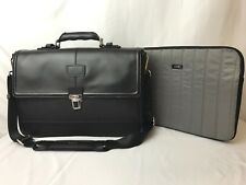 Tumi 99232 Thornbrook Document Briefcase Carryon Laptop Bag Black Leather Nylon