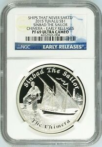 2015 ships that never sailed Sinbad Chimera silver proof 1 oz coin NGC PF 69