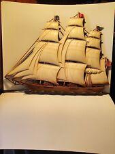 Dart IND Syroco plastic wall hanging Ship Boar Schooner 27x21Vintage Mid-Century