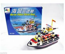 Police Rescue Boat 165pcs Brick Block Building Construction Kids Playset Toy