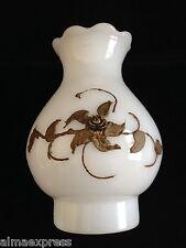 """Gold Rose Guilded White Milk Glass Hurricane Shade Chimney Globe  7-1/8"""" H"""