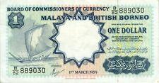 Malaya and British Borneo P8A 1 dollar 1959 TDLR VF-XF