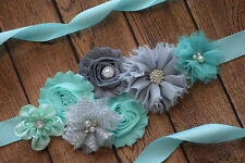 Flower Sash, aqua and grey Sash , flower Belt, maternity sash