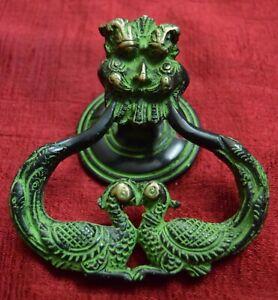 Dragon Face Design Door Knocker Handmade Peacock Bell Home Furnish Brass VR405