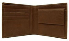 Brown Leather Bi Fold Men's Wallet Credit Card Slot Coin Purse Spanish Leather