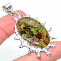 "Copper Tourmaline Gemstone Handmade 925 Silver Jewelry Pendant 2.52"" VK-1063"
