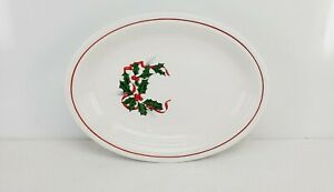 """Christmas OVAL PLATTER PLATE holly and ribbon FIESTA medium 11 5/8"""" NEW white"""