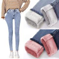 Winter Women Warm Jeans Pants Casual Fleece Velvet Ladies Trousers Denim Jeans