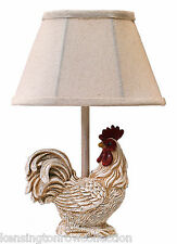 "TABLE LAMPS - ""STANDING PROUD"" ROOSTER ACCENT LAMP - WHITE ROOSTER LAMP"