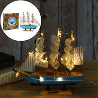 Holz Segelschiff Segelboot mit LED Beleuchtete Modell Schreibtisch Boot Deko
