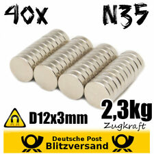 40x Neodym Magnet Scheibe D12x3mm N35 - Whiteboard Magnete Geocaching Magneten