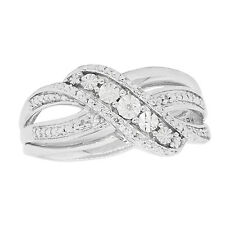 Natural 0.02ct Diamond Illusion Set Fancy Ring 925 Sterling Silver