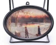 Antique Vtg Miniature Winter Ice Skating Pond Print Metal Oval Picture Frame